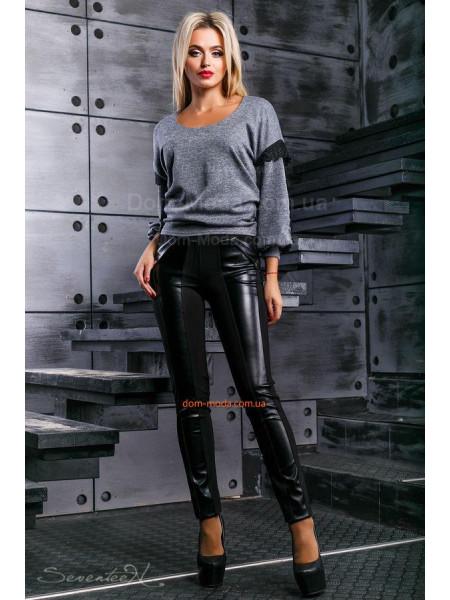 Жіночі стильні лосіни зі вставками чорної шкіри Жіночі стильні лосіни зі  вставками чорної шкіри КУПИТИ ОНЛАЙН 9154e29f15994