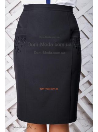 Класична жіноча спідниця чорного кольору великого розміру