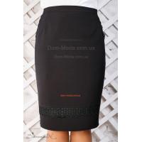 Стильная черная юбка по колено большого размера