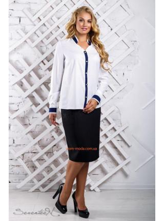 Стильная женская блуза с длинным рукавом батал