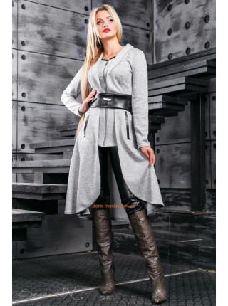 Эффектный женский длинный кардиган с поясом