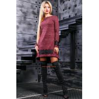 Модне трикотажне плаття зі вставками чорного мережива