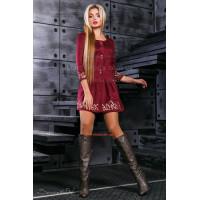 Коротке жіноче замшеве плаття з рукавом