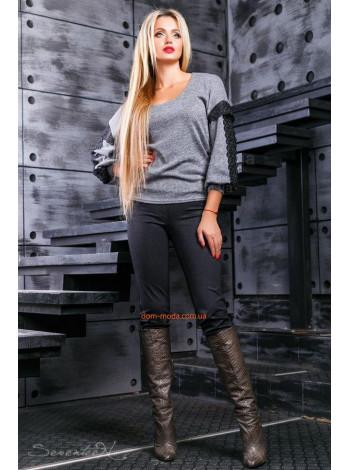 Черные женские трикотажные леггинсы