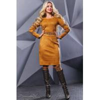 Платье женское замшевое с поясом
