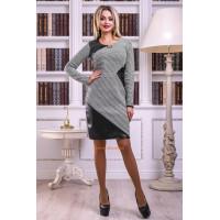 Классическое модное платье с рукавом и эко кожей