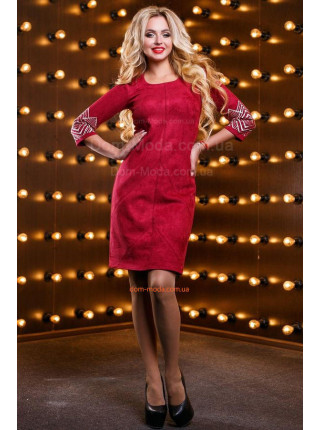 Женское нарядное замшевое платье