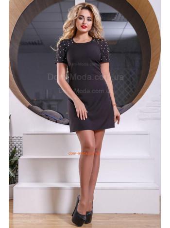 Женское мини платье с жемчугом
