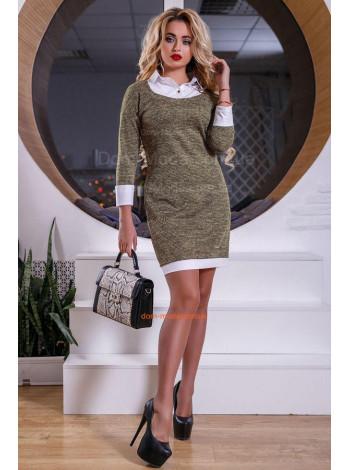 Женское деловое платье с белыми вставками