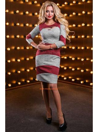 Трикотажное женское платье в полоску с рукавом