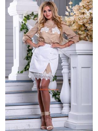 Белая летняя юбка с карманом