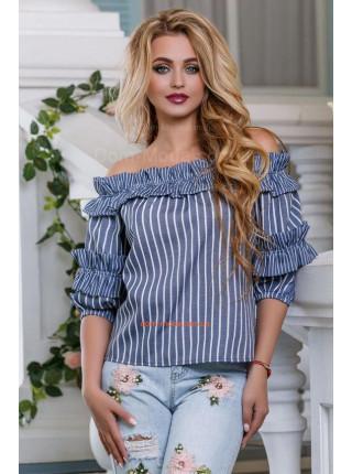Блуза полосатая с открытыми плечами