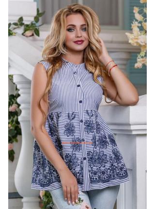 Удлиненная блуза без рукав
