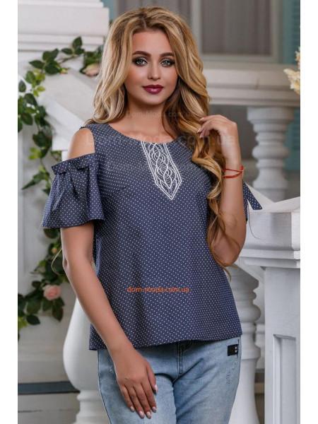 Жіноча блуза в горошок із бантами