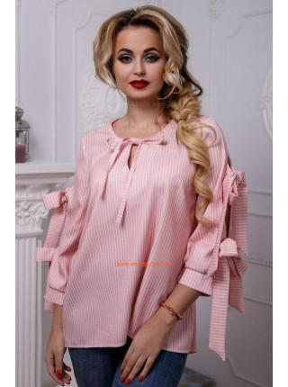 Жіноча сорочка в полоску із бантами