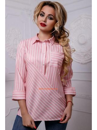 Смугаста сорочка синього, рожевого та блакитного кольору