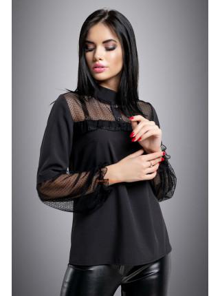 Блуза женская со вставками сетки в горошек