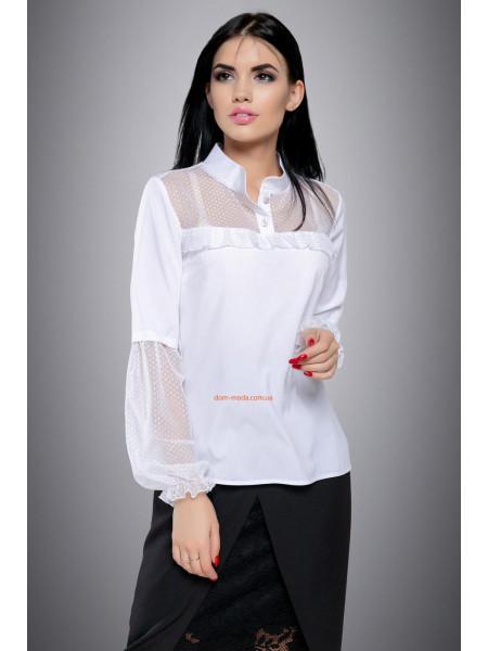Блуза жіноча зі вставками сітки в горошок