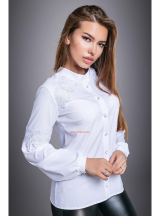 Модна блуза із довгим рукавом білого і чорного кольору