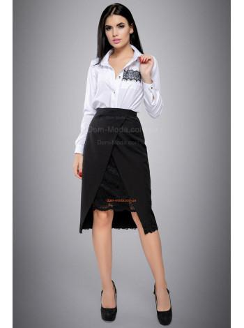 Женская юбка черная с кружевом