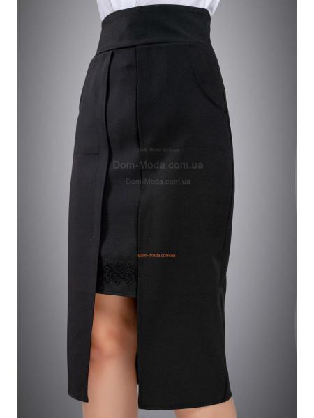 Оригинальная юбка с запахом черного цвета