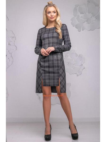 Клетчатое платье асимметричное с карманами