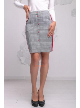 Модная коротка юбка  клетку с лампасами