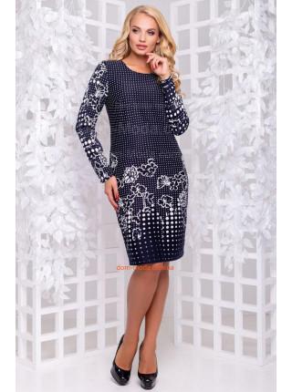 Модное темно-синее платье в принт большого размера