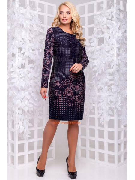 КУПИТИ ОНЛАЙН КУПИТИ ОНЛАЙН. Модне темно-синє плаття в принт великого  розміру ... c22cd6ca81fe7