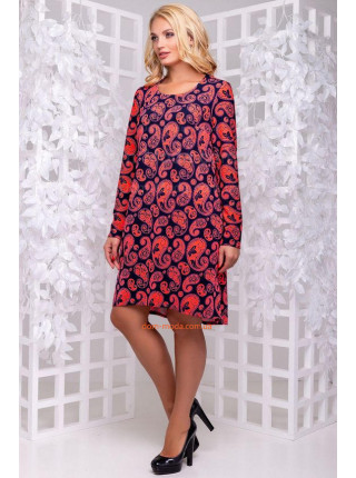 Платье женское короткое для полных в принт