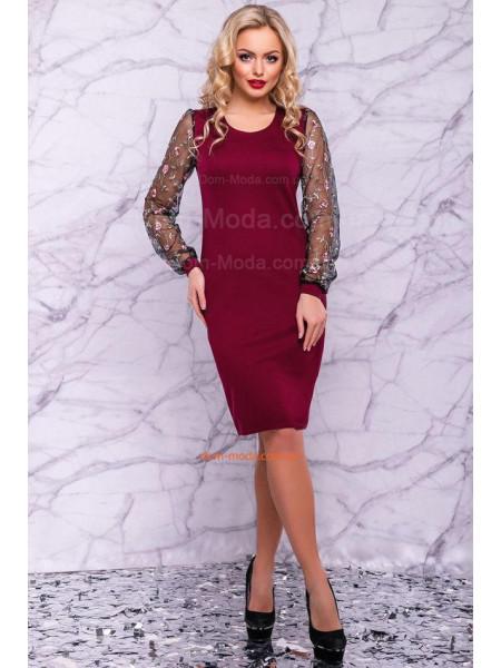 Элегантное платье вечернее с оригинальными рукавами
