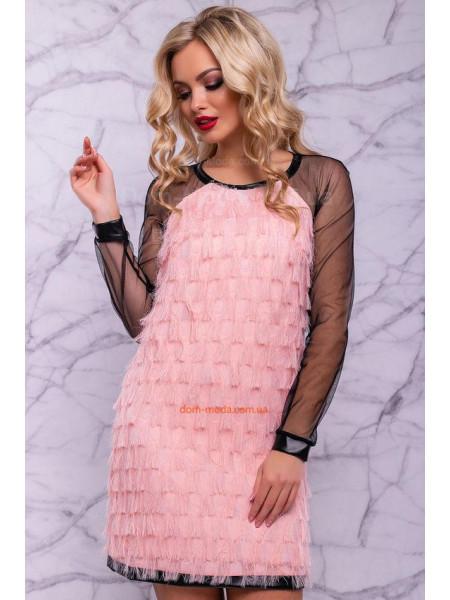 Нарядне плаття коротке зі вставками сітки