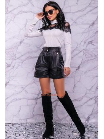 Кожаные женские шорты юбка