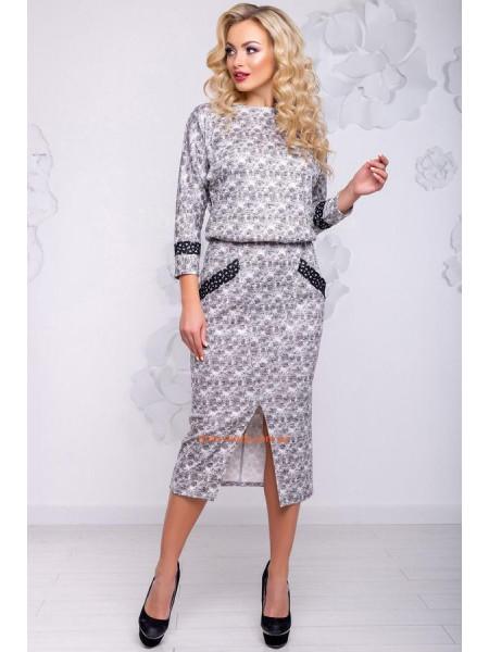 Сіре ангорове плаття із кишенями