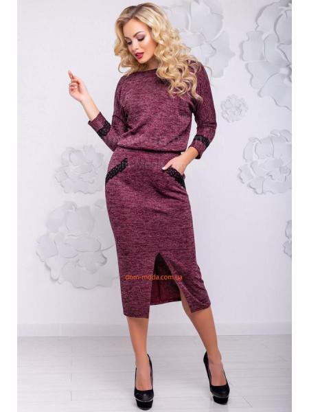 Модное женское платье миди с ангоры