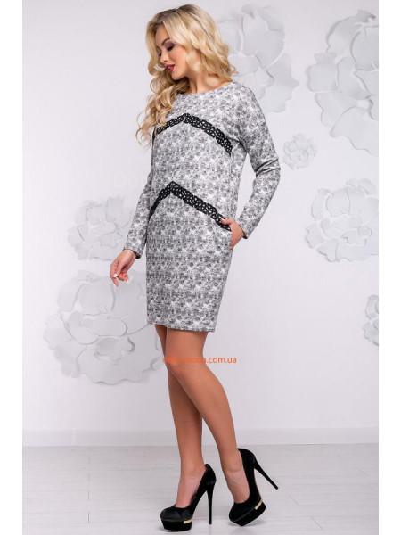 Стильное короткое серое платье из ангоры
