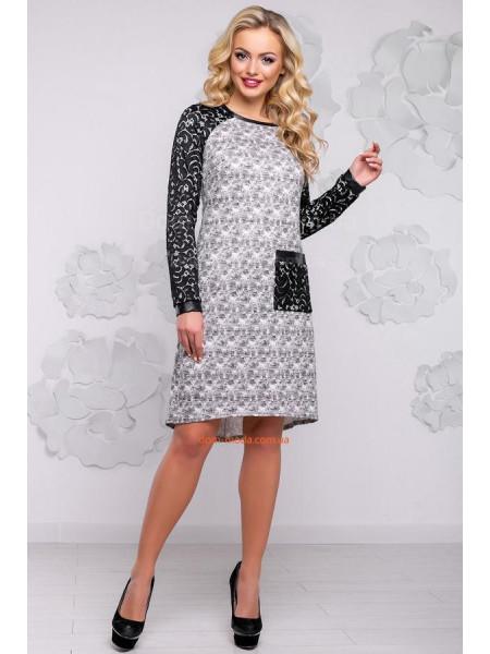Стильне плаття сірого кольору із кишенею