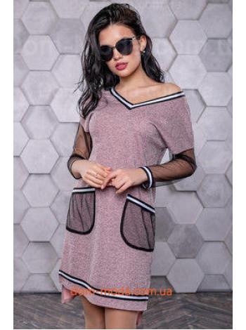 Жіноче плаття модне зі вставками сітки