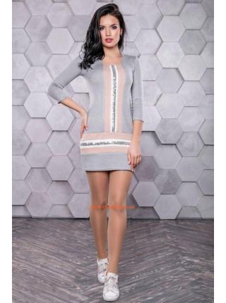 Модное короткое платье туника с рукавом