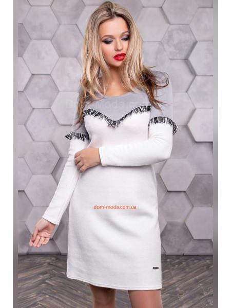 Модное платье короткое с бахромой