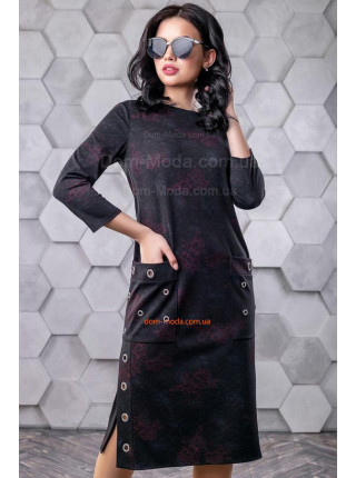 Стильное платье в принт с разрезами