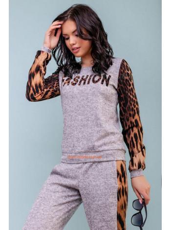 Спортивный серый костюм с леопардовыми вставками