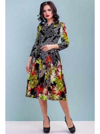 Стильное платье женское в принт за колено