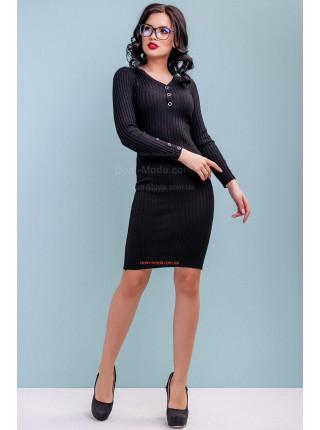 Платье женское с рукавом серого и черного цвета