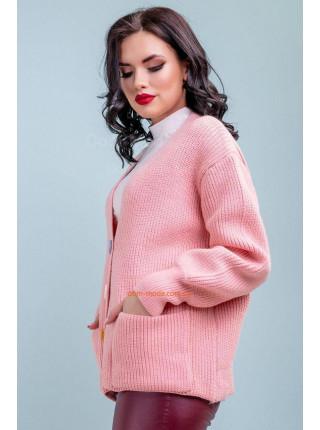 Стильный женский кардиган на пуговицах розового цвета