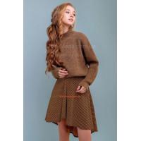 Женская асимметричная юбка горчичного цвета