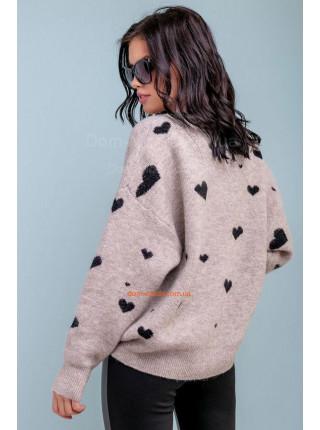 Жіночий стильний джемпер сірого кольору в принт