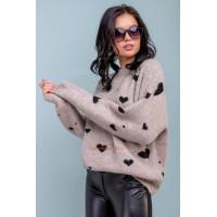 Женский стильный джемпер серого цвета в принт