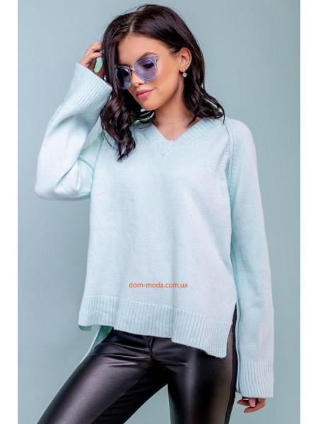 Женский пуловер голубого цвета