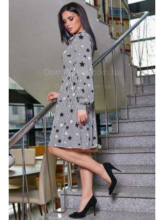 Женское платье рубашка с пышной юбкой в полоску и звездами